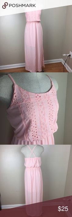New pink Maxi Dress Brand new with tags size Medium Pink Maxi Dress. Adjustable straps Elastic waistband Dresses Maxi