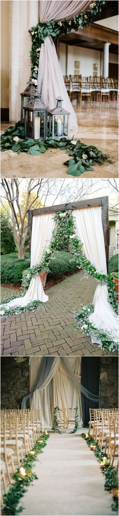 Green Floral Garland Wedding Ceremony Ideas