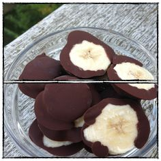 Frozen Chocolate Banana Bites. So easy to make, only 2 ingredients: Chocolate and Bananas. Sure to become a family favorite for a quick dessert or sweet bite on the go.