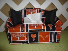 Texas Longhorns Tissue Box Cover in Sofa by JRsPillowsandBags