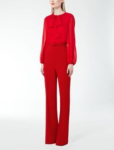 Max Mara VEGA dark red: Silk georgette jumpsuit. Find your outfit on the Official Max Mara Website and discover all that is new in ready-to-wear.
