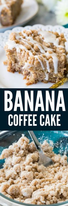 This Banana Coffee Cake is a great way to use up any super-ripe bananas you might have lying around! With a moist, fluffy, vanilla banana-flavored interior and a crisp buttery streusel topping drizzled with an optional glaze, this is a unique and delicious coffee cake recipe!