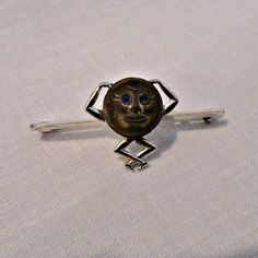 Antique Man in Moon Sterling Brooch Pin Circa 1890 by SilverFoxAntiques on Etsy