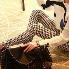 New Fashion Digital Slim Sexy Black White Stripes Leggings Floral Ankle Length Printed Women Leggings Casual KH820049