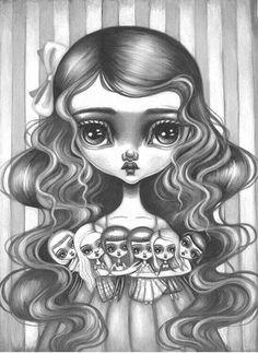Lauren Saxton Art & Illustration by LaurenSaxtonArt Art Beat, Doll Painting, Painting Of Girl, Girl Paintings, Zentangle, Drawing Simple, Big Eyes Artist, Beautiful Dark Art, Cartoon Girl Drawing
