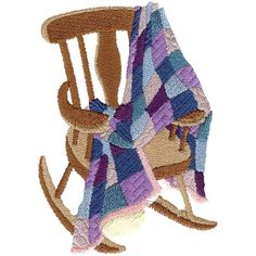 Free Embroidery Design: Rocking Chair & Quilt