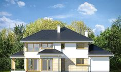 Dom z widokiem 6 House Blueprints, Facade House, Gazebo, Pergola, Modern House Design, Planer, House Plans, Sweet Home, Shed