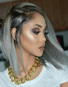 New Fashion Malaysian Grey Bob Human Hair Wigs . Trendy Hairstyles, Weave Hairstyles, Grunge Hairstyles, Short Haircuts, Lace Front Wigs, Lace Wigs, Short Hair Styles, Natural Hair Styles, Curl Styles