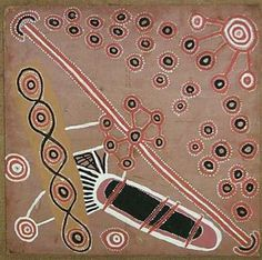 Uta Uta Tjangala, Medicine Story,' one of seven Papunya boards stolen from the Museum and Art Gallery of the Northern Territory in 2008 and found hidden in the bush near the Darwin Bowls and Social Club.