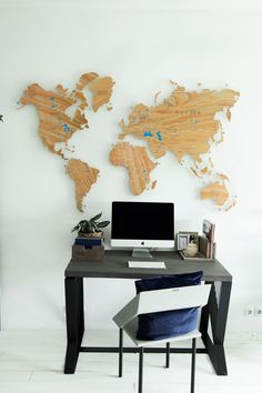 Office Wall Decor by GaDenMap. Push Pin travel map for wall decor in office room, bedroom, living room, kid's room decorating. Unique gift idea for travelers. Wooden 3D World Map Wall Art, World Map Wall Mural, Push Pins Travel Map, Office Wall Art, Map Wall Hanging, Gift World Map #mapdecor #art #kitchenwalldecor