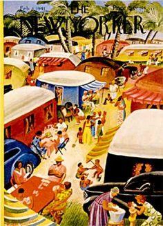 vintage New Yorker magazine 1941 Trailer Park illustration