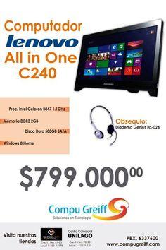 #Computador #lenovo todo en uno por tan solo $799.000 de venta en @Compu Greiff ademas te obsequiamos una diadema.
