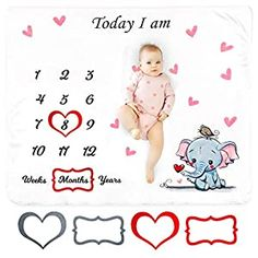 Perfect for your Baby and Nursery ikeepit Baby Monthly Milestone Blanket for Baby Girl and Boy (4 Red &Grey Photo Props Included) – Premium Soft Flannel Fleece- Elephant Baby Blanket -Silky Touch Blanket- Large 47×40 inches,ikeepit Baby Monthly Milestone Blanket for Baby Girl and Boy (4 Red &Grey Photo Props Included) - Premium Soft Flannel Fleece- Elephant Baby Blanket -Silky Touch Blanket-...