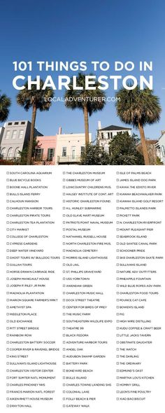Click Through to Get Printable Version  - The Ultimate Charleston Bucket List (101 Things to Do in Charleston SC) // localadventurer.com