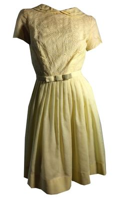 Lemony Yellow Cotton Dress w/ Peter Pan Collar circa 1960s