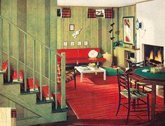 1950s interior design illustration.