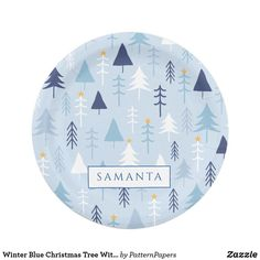 Winter Blue Christmas Tree With Perosnalized Name Paper Plate Blue Christmas, Merry Christmas, Christmas Paper Plates, Snow Light, Winter Blue, Plaid Pattern, Xmas Gifts, Retro Vintage, Merry Little Christmas