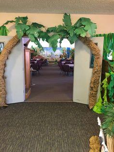 VBS Safari Jungle bridge with river under. Jungle Party, Safari Party, Safari Theme, Jungle Safari, Jungle Theme Parties, Fake Palm Tree, Palm Trees, Jungle Theme Classroom, Rainforest Classroom
