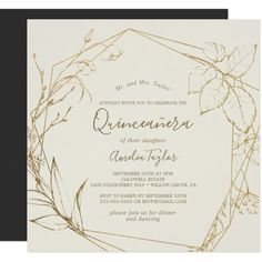 Gilded Floral Cream and Gold All In One Wedding Invitation Quinceanera Invitations, Cheap Wedding Invitations, Wedding Invitation Cards, Invites, Wedding Envelopes, Shower Invitations, Birthday Invitations, Quinceanera Party, Gold Invitations
