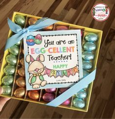 FREE printable Easter card for teachers, friends, coaches and more!  Edit, save and print - You're and EGGcellent teacher - put with chocolate eggs for the perfect treat!