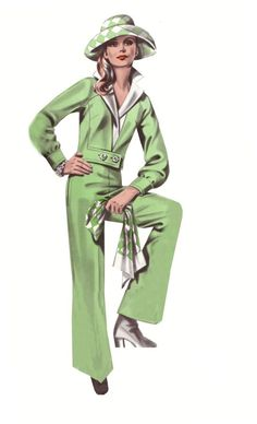 Women's Fashions - Skirts and Jackets from the 1970's. This Jacket and Pants illustration is from 1974,