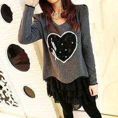 Gray Thicken Heart Dress - plus sizes - USD $ 22.19