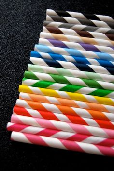 50 Assorted Striped Paper Straws and PDF by CupcakeSocial on Etsy, $8.00