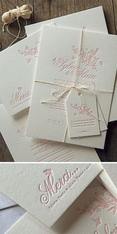 Suite faire-part de mariage avec étiquette en rose pastel, création Mes Jolis Gribouillis / letterpress wedding invite in pastel pink designed by Mes Jolis gribouillis