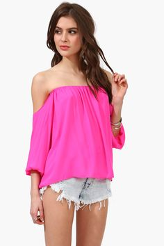 Perfection Off The Shoulder Top Neon Pink