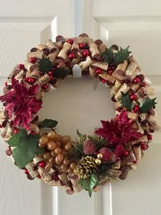 16 Used Wine Cork XMAS Wreath w/Faux Grapes Red and by BellaVinos
