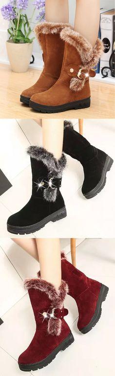 47e85293fd9 Hot Sale!Round Toe Mid-Calf Fur Snow Boots