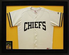 Baseball jersey combined with autographed playing card from Chiefs. Designed and custom framed at Art & Frame Express in Edison, NJ. www.MyFramingStore.com