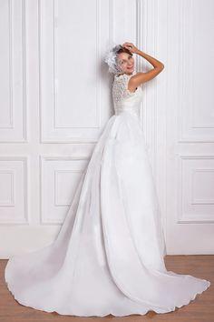Luxurious A-line Straps V-neck Floor-length Taffeta #Wedding Dress