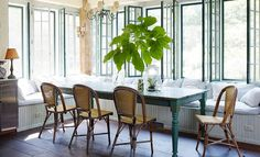 Trend Spotted: French Bistro Chairs, dining room, built in bench, breakfast nook