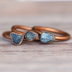 Raw Sapphire and Copper Ring | Bohemian Gypsy Jewelry | Festival Jewels | Indie and Harper