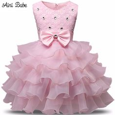 Aini Babe Girl Dress Summer 0-8 Years Floral Baby Girls Dress Vestidos 9 Colors Wedding Party Baby Clothes Birthdays Clothing - www.eneryoh.com