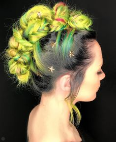 High voltage coloured hairstyle - Updo Hairstyles to try this summer – 14 different hair buns