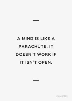 a mind is like a parachute. It doesn't work if it isn't open...