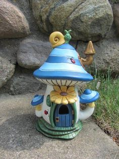 Handmade fairy house Mushroom flowers snail by TeresasCeramics, $25.00: