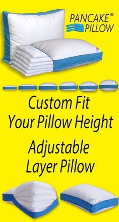 Sleep Comfort Is All About Pillow Height!  ----> www.pancakepillow.com Custom Fit Your Perfect Size With The Pancake Pillow's Six Soft Stackable Inner Pillow Layers.  Crafted With 5 Star Luxury Materials.  See it at www.PancakePillow.com