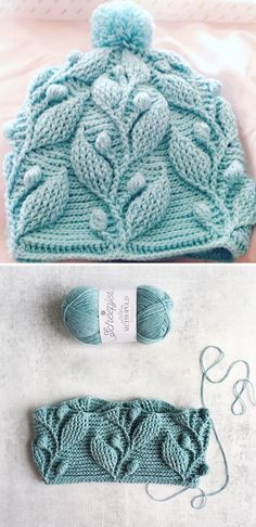 Crochet Pattern - Beanie with Leaves - Design PeakYou can find Crochet patterns and more on our website.Crochet Pattern - Beanie with Leaves - Design Peak Bonnet Crochet, Crochet Motifs, Crochet Stitches, Free Crochet, Knit Crochet, Crochet Leaves, Crochet Dolls, Baby Beanie Crochet Pattern, Crochet Beanie Hat