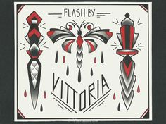 flash tattoo daggers dragonfly | flash tattoo daggers dragonfly