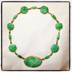 Art Deco art nouveau jade necklace with seed pearl avcent