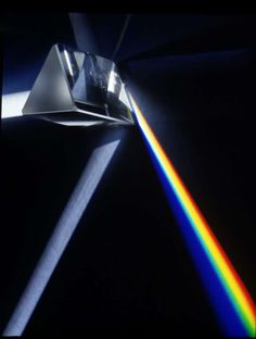 A prism refracts light at different directions to form a rainbow