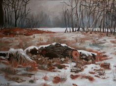 Snowy logs. Original oil painting (30 x 40 cm) by Antje Gilland.