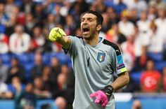 Gianluigi Buffon of Italy shouts during the UEFA EURO 2016 Group E match between Belgium and Italy at Stade des Lumieres on June 13, 2016 in Lyon, France.