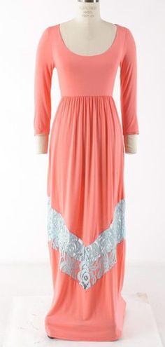Three Quarter Mint/Coral Dress, $49.99