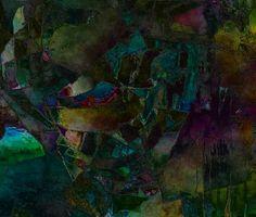 Estampado digital abstracto de tendencia cubista en diversas y profundas tonalidades de azules, ocres, verdes y púrpuras, de Universo Solariana.