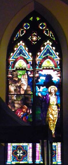 LaFarge Nave and Rose Windows ; Trinity Episcopal Church; 389 Delaware Avenue, Buffalo, NY; Designer: John LaFarge; Style: Opalescent; Jesus appears to James, installation 1887