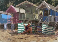 """Haidee-Jo Summers ROI Artist on Instagram: """"A day at the beach (SOLD) I just love a striped windbreak don't you? Those beach tents are so popular but they just don't have the same…"""" Beach Tent, Just Don, Tents, Popular, House Styles, Day, Artist, Summer, Instagram"""